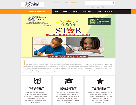 Writers Corner website design